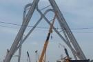 Công trình cổng tỉnh 368 tỷ đồng: Dựng xong cột thứ 5