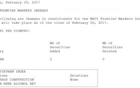 MSCI Frontier Markets Index thêm 2 cổ phiếu Việt Nam